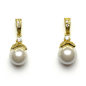 Pearl Gold Bridal Earrings