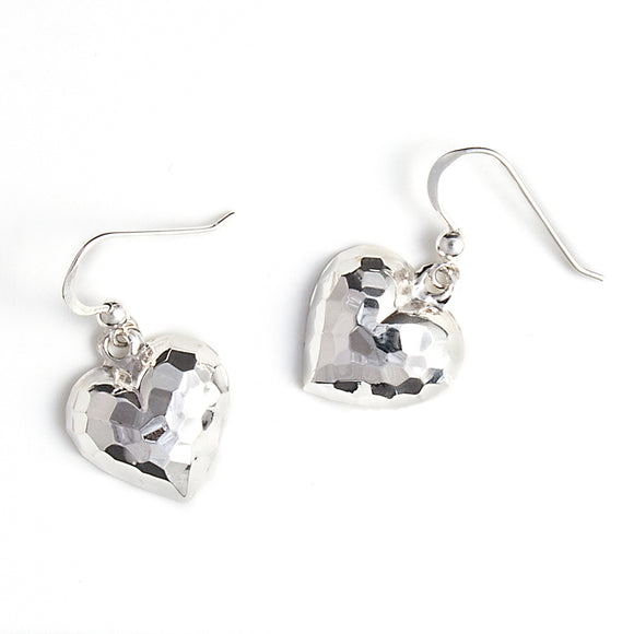 Silver Hammered Heart Earrings