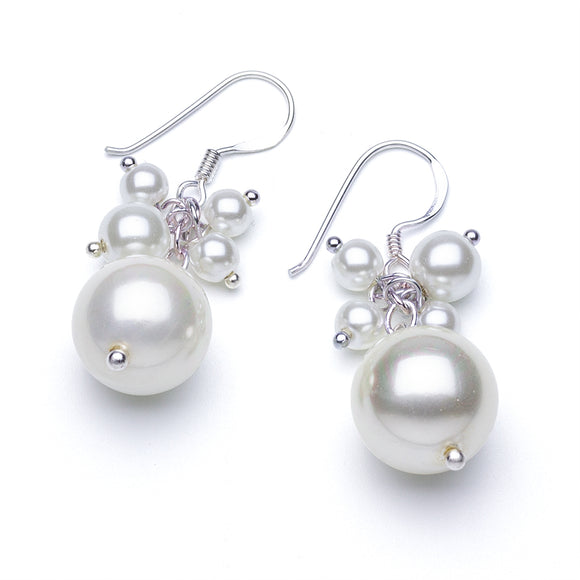White Pearl Cluster Drop Earrings