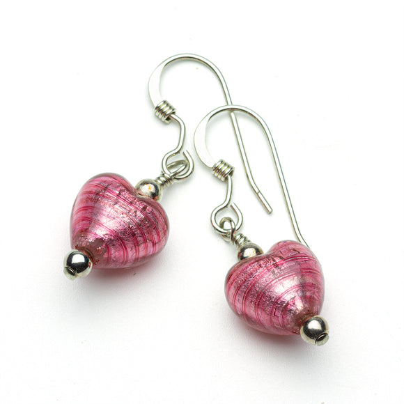 Pink Murano Heart Earrings
