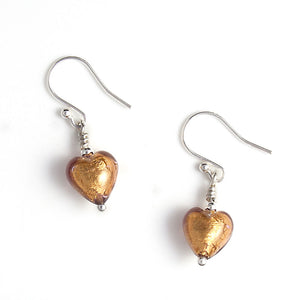 Chocolate Amethyst Murano Heart Earrings on white Background