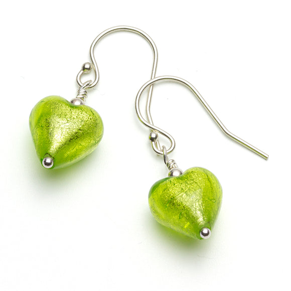 Lime Green Murano Heart Silver Earrings on White Background