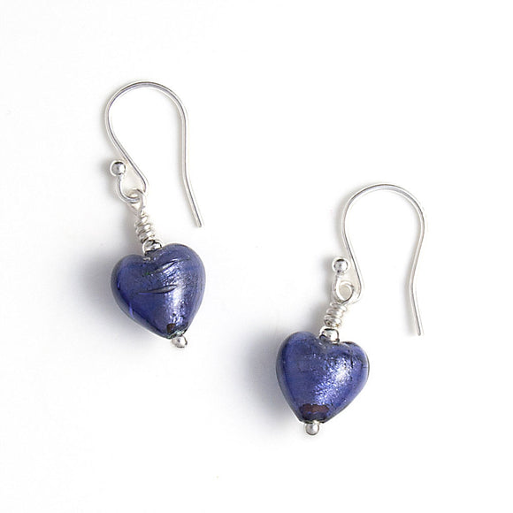 Purple Murano Heart Earrings