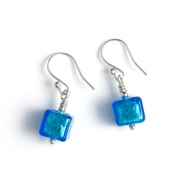 Dark Aquamarine Murano Glass Cube Beads on White Background