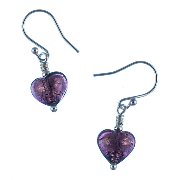 Amethyst Coloured Murano Heart Earrings White Background