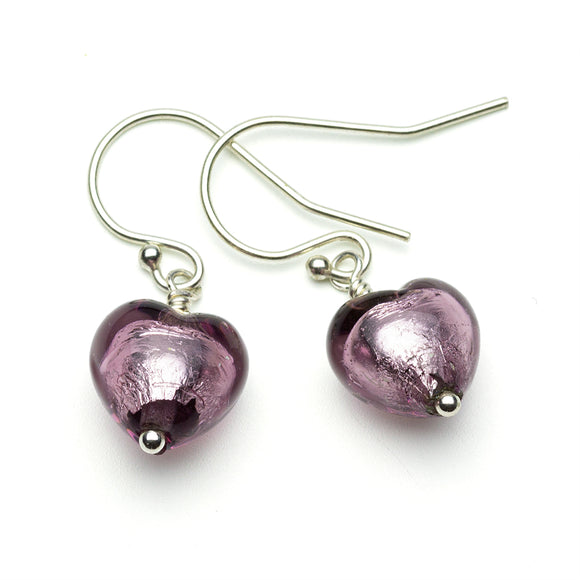 Amethyst Coloured Murano Glass Silver Earrings on White Background