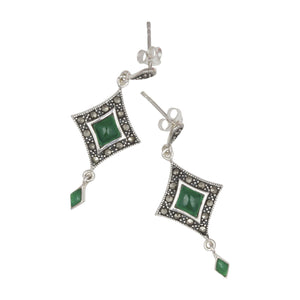 Art Deco Style Diamond Shaped Earrings on White Background