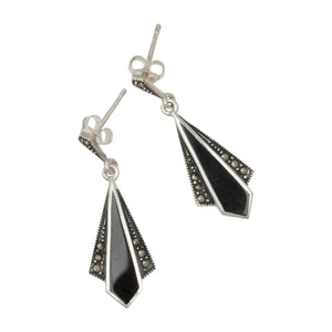 Black Onyx Fan Shaped Earrings on White Background