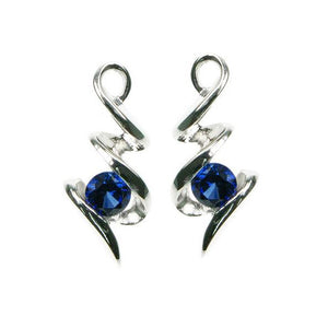 Lab Sapphire Squiggle Stud Earrings on White Background