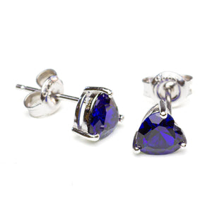 Heart Shaped Lab Sapphire Stud Earrings on White Background