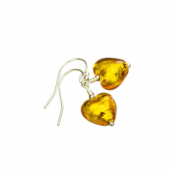 Gold Murano Glass Heart Earrings on White Background