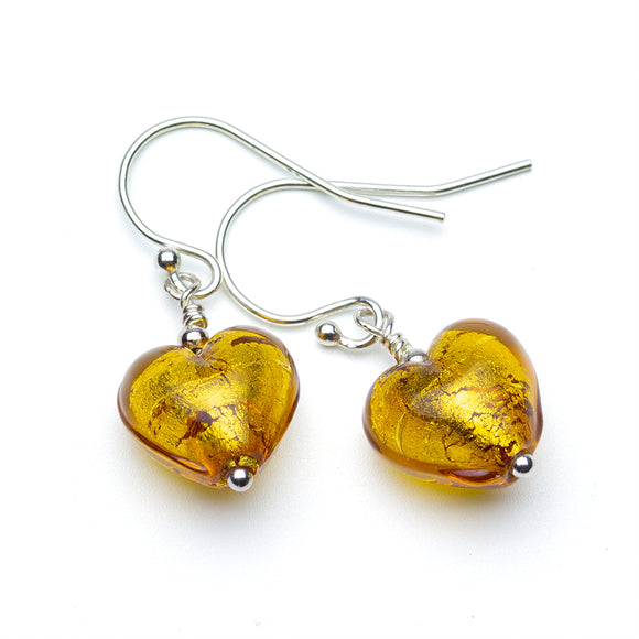 Gold Murano Heart Earrings