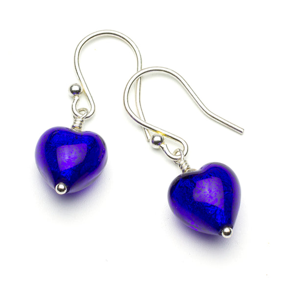 Handmade Cobal Blue Murano Heart Silver Earrings