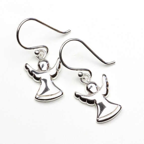 Silver Angel Drop Earrings