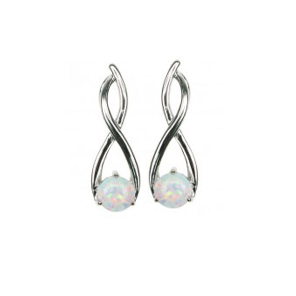 White Lab Opal Earrings