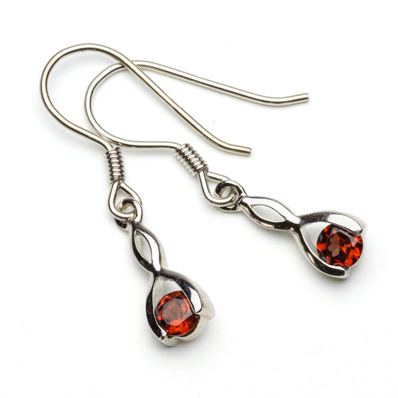 Garnet Silver Wishbone Earrings on White Background