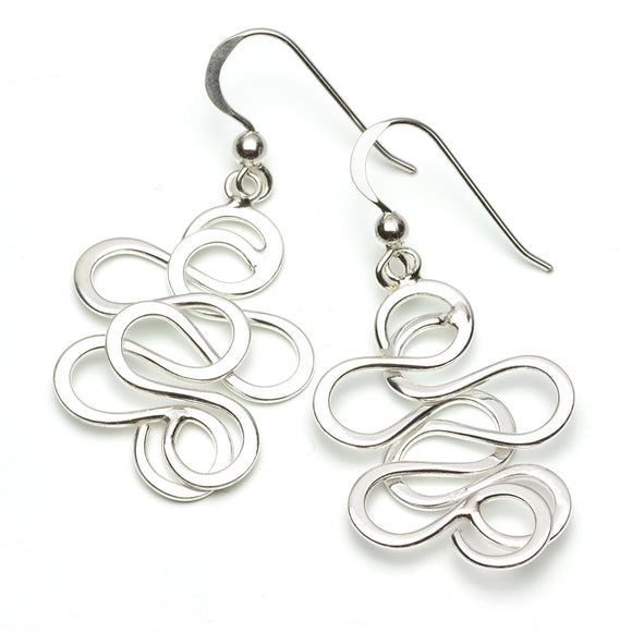 Sterling Silver Squiggle Earrings on White Background