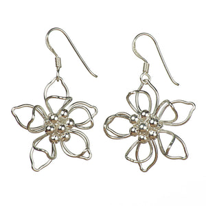 Sterling Silver Wirework Flower Earrings on White Background