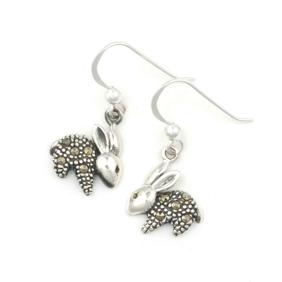 Rabbit Silver Marcasite Drop Earrings on White Background