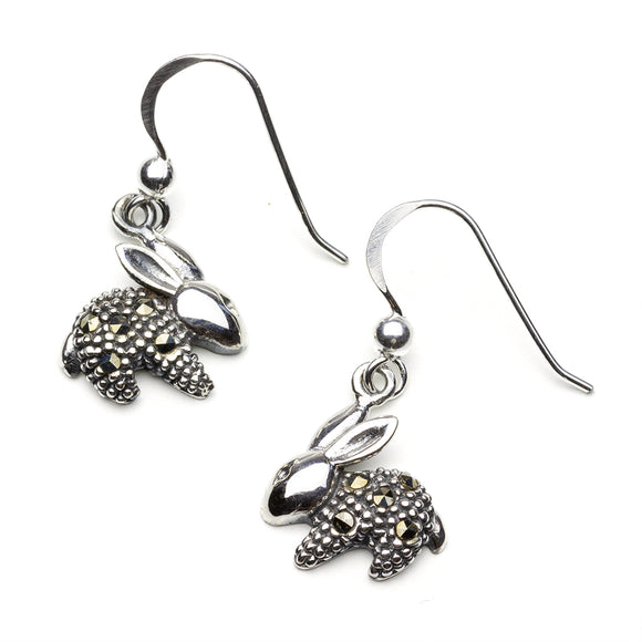 Small Rabbit Marcasite Silver Earrings on White Background