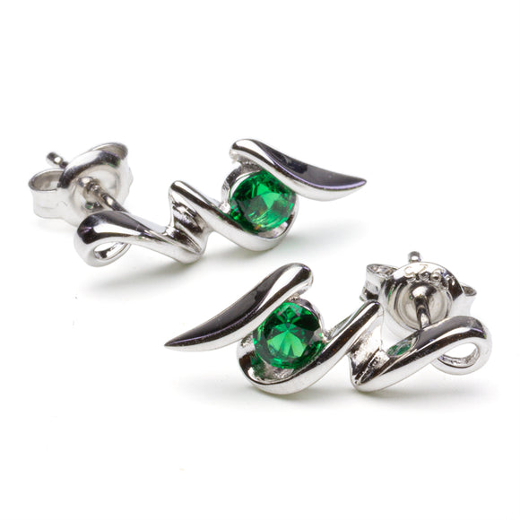 Lab Emerald Squiggle Earrings