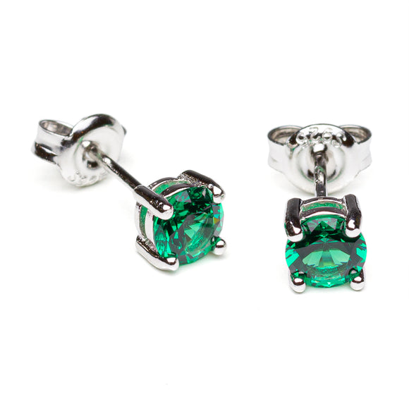 Round Lab Emerald Stud Earrings