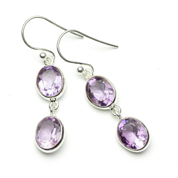 Twin Amethyst Oval Earrings