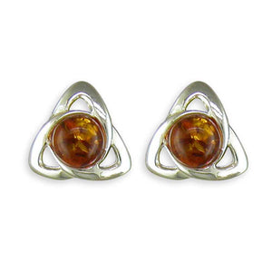 Amber Celtic Stud Earrings