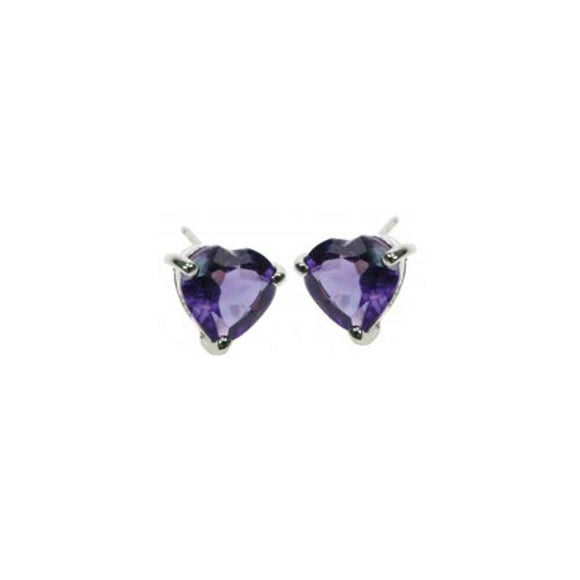 Amethyst Heart Stud Earrings on White Background