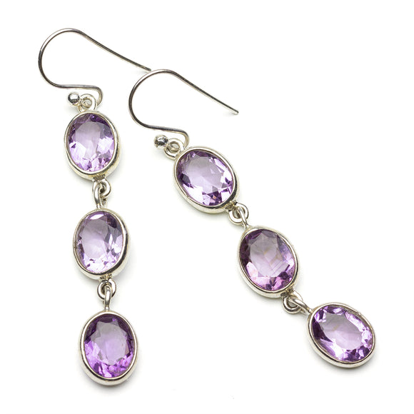 Triple Oval Amethyst Earrings