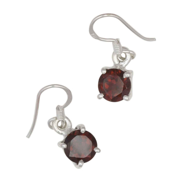 Round Garnet Sterling Silver Drop Earrings on White Background