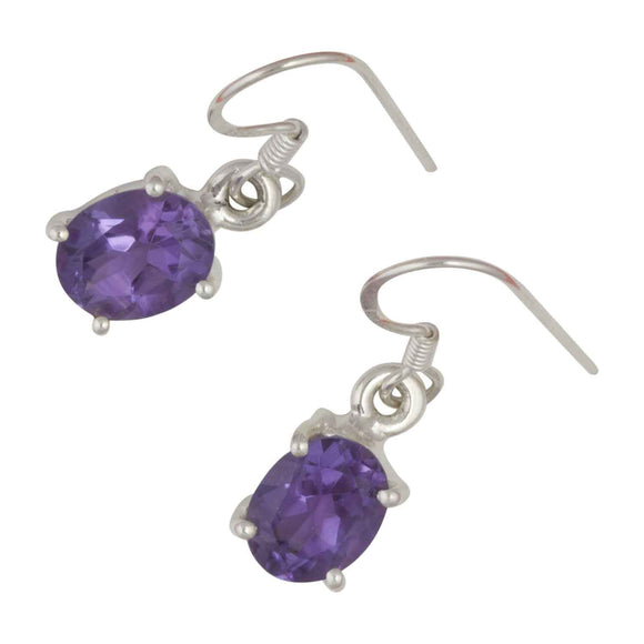 Amethyst Oval Silver Drop Earrings White Background