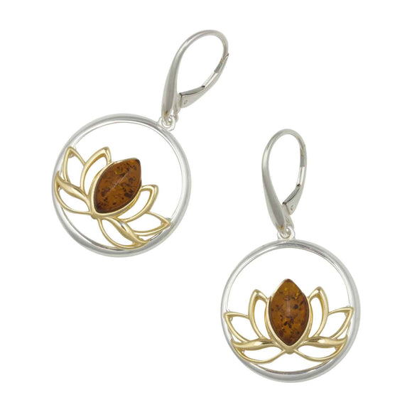 Circular lotus flower earrings with amber and gold plating