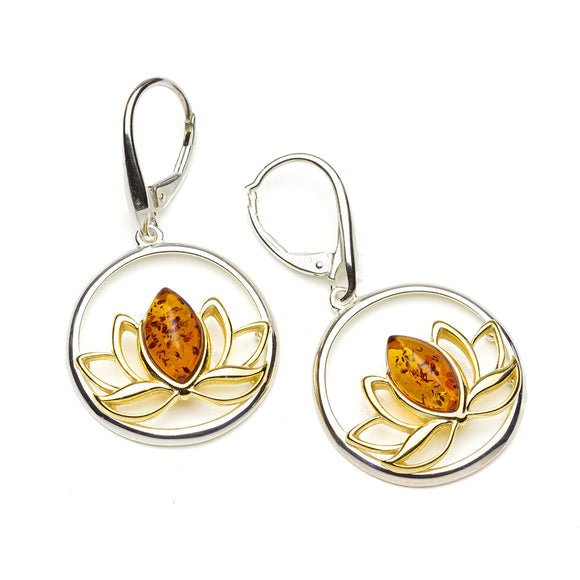 Amber Silver Gold Lotus Earrings