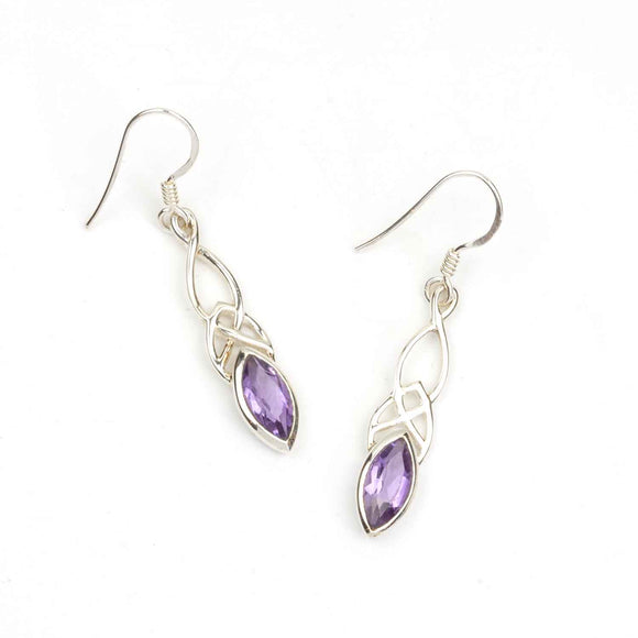 Purple Amethyst Celtic Drop Earrings on white background