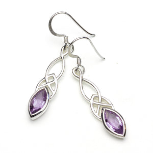 Amethyst Celtic Silver Earrings