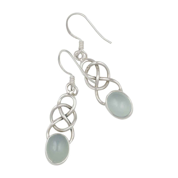 Blue Chalcedony Celtic Earrings on White Background
