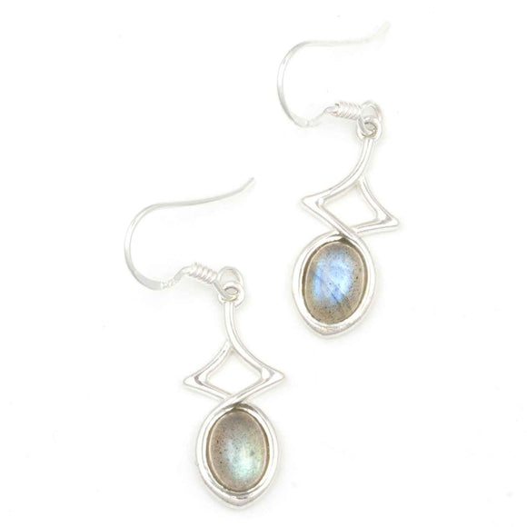 Labradorite  Sterling SilverOval Earrings  on White Background
