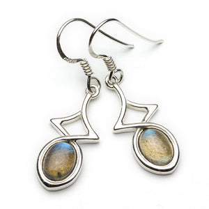 Labradorite Silver Drop Earrings