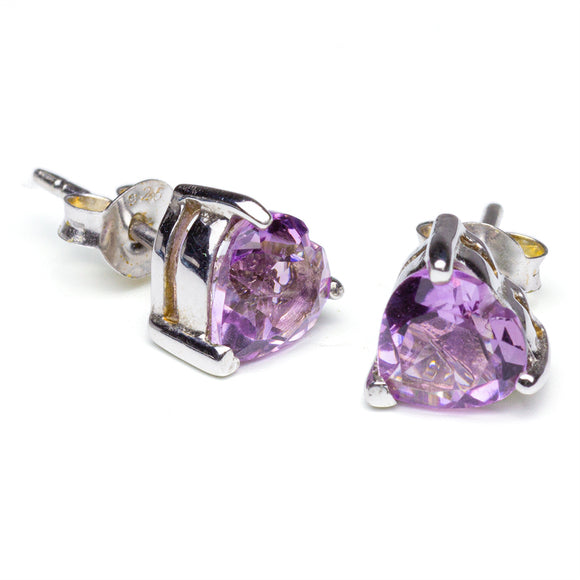 Amethyst Heart-Shaped Stud Earrings on White Background