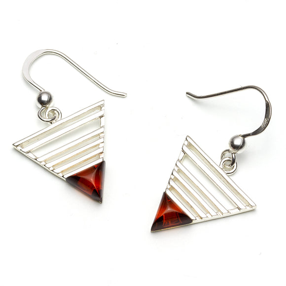 Amber Sterling Silver Triangle Drop Earrings on White Background