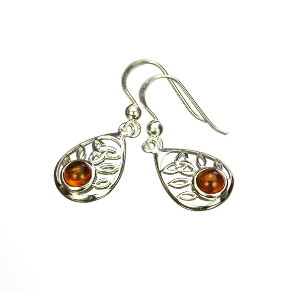Teardrop Shape Silver Amber Earrings