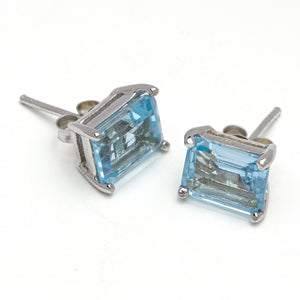 Sky Blue Topaz Earrings on White Background