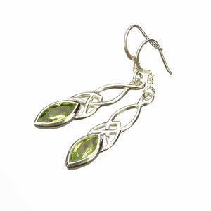 Peridot Celtic Silver Earrings