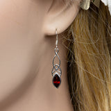 Garnet Celtic Silver Drop Earrings on Ear