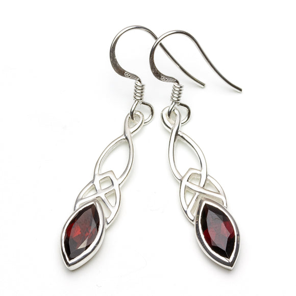 Celtic Design Garnet Silver Drop Earrings on White Background