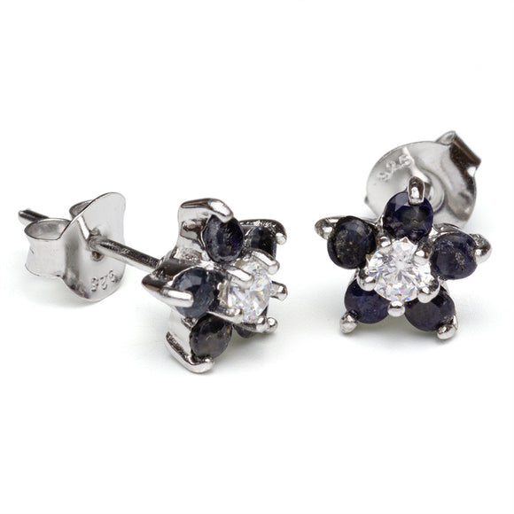 Sapphire and CZ silver flower stud earrings on white background