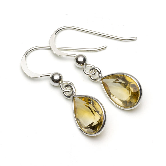 Citrine Teardrop Earrings on White Background