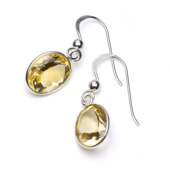 Oval Citrines in Sterling Silver Drop Earrings on White Background