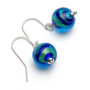 Blue Stripe Murano Glass Round Bead Drop Earrings on White Background